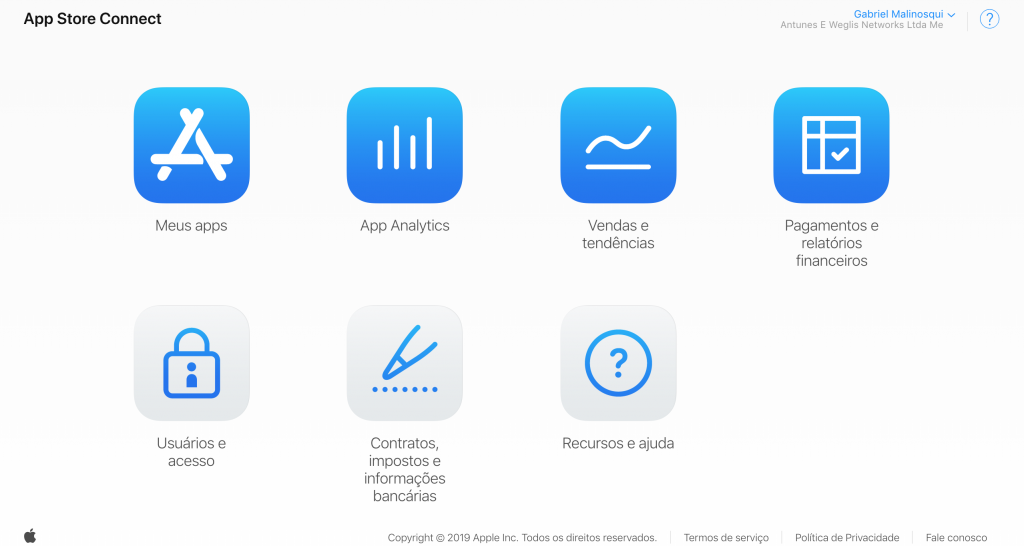 Tela inicial App Store Connect