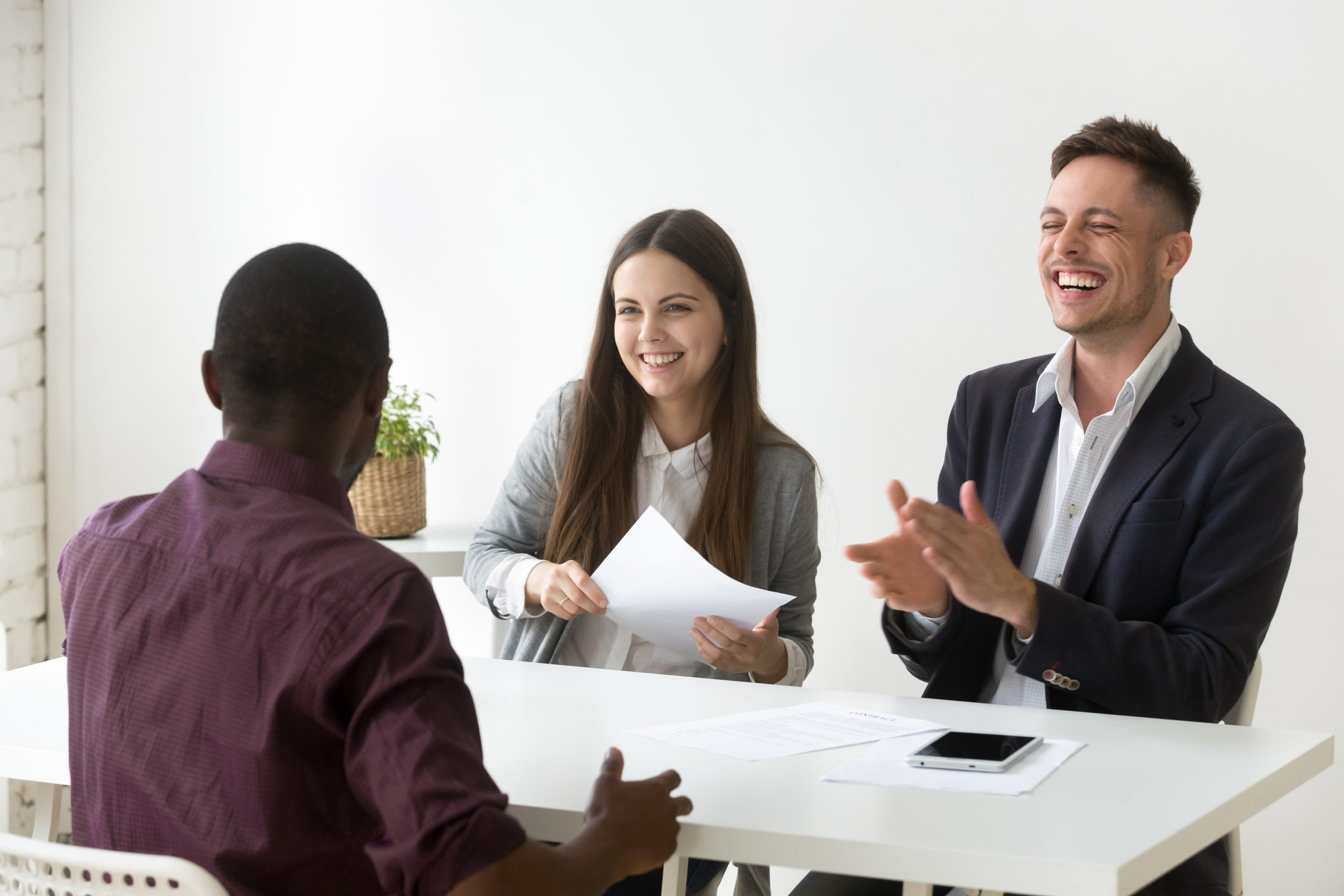 African applicant make hr laugh at job interview, good impressio